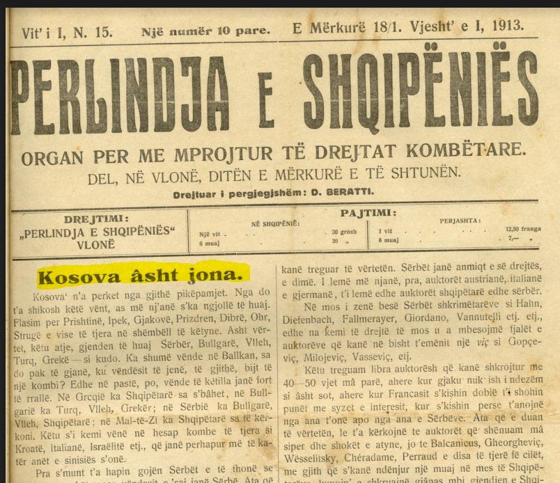 """Edhe gazeta e qeverisë së Ismail Qemalit protestonte """"Kosova asht e jona"""""""